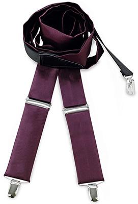 Suspenders tie fabric aubergine