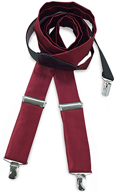 Suspenders tie fabric bordeaux red