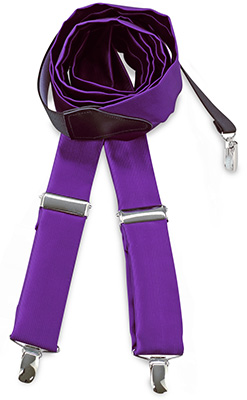 Suspenders tie fabric purple