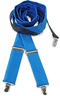 Suspenders tie fabric process blue