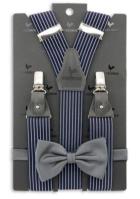 Sir Redman suspenders combi pack Striped Gent grey