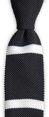 Necktie knitted black stripe